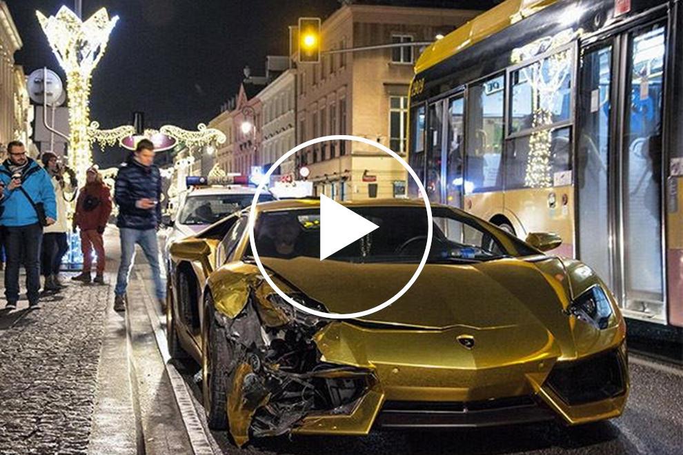 Watch A Lamborghini Aventador Get Trashed In Poland Traffic Crash