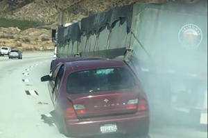 Car Gets Dragged By Truck For Four Miles In Freak Highway Accident