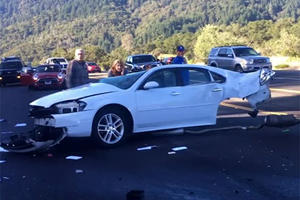 This Car Was Sliced In Half And Miraculously The Driver Survived