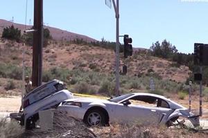 Ford Mustang Splits In Half In Street Racing Smash-Up