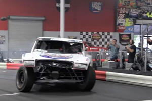 Carl Renezeder Tears Up An Indoor Go-Kart Track With A V8 Racing Truck