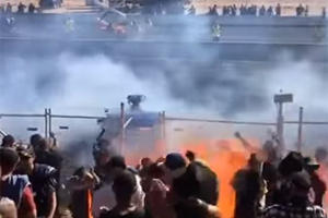 Failed Burnout Sprays Burning Fuel Into Crowd