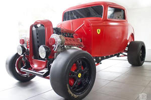 Awesome Maniac Stuffs Twin-Turbo Ferrari V8 Into 1932 Ford Coupe