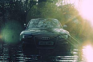 Thugs Trash Audi RS5 Abandoned on Flooded UK Road