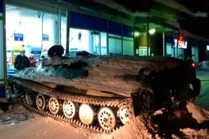 Russian Guy Rams Armored Personnel Carrier Into Store To Steal Wine
