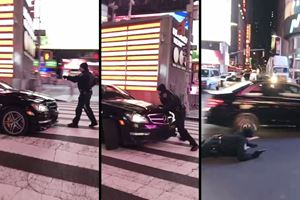 Drifting Mercedes-AMG C63 Mows Down Cop In Times Square
