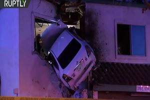 Watch This Driver Crash Into The Second Floor Of A Building