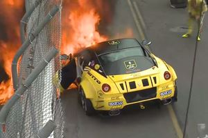 900-HP Ferrari 599 Catches Fire In Formula Drift Debut