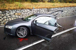 Audi R8 Splits In Half In Massive Crash