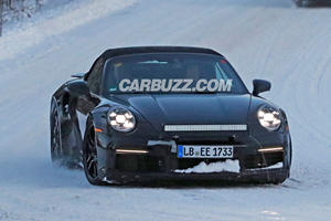 New Porsche 911 Turbo S Cabriolet Spied Playing In The Snow