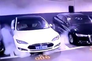 Watch A Tesla Model S Explode In Parking Lot