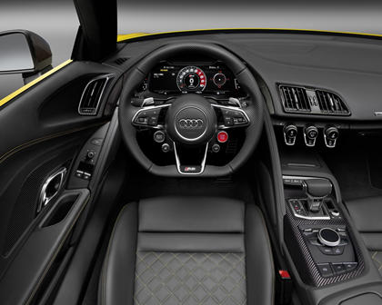 2017 Audi R8 V10 quattro Spyder Convertible Steering Wheel Detail