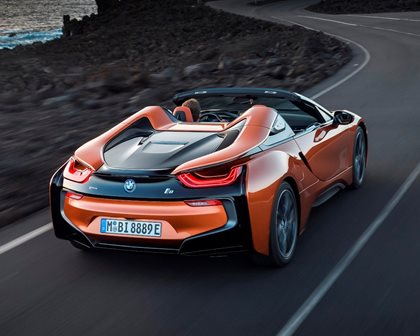 2019 BMW i8 Roadster Rear Angle in Motion