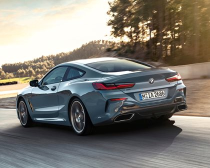 2019 BMW 8 Series Rear Angle in Motion