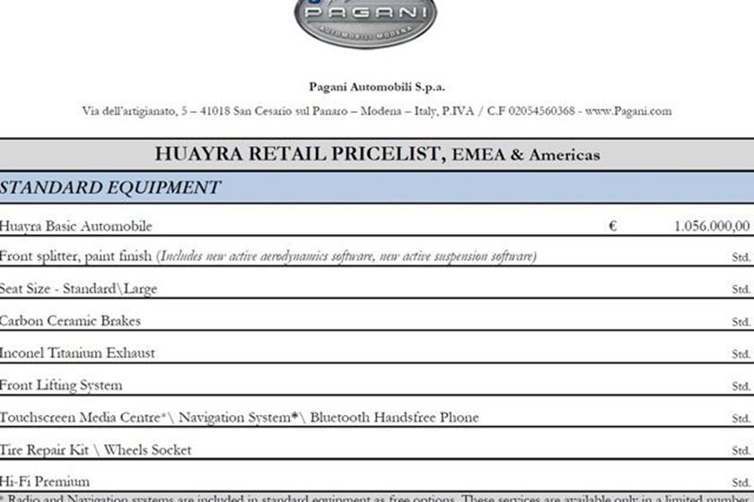 Pagani Huayra Price List Released - CarBuzz