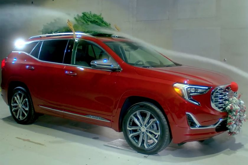 gm took its latest gmc terrain to a wind tunnel to see how christmas decorations impacted fuel economy