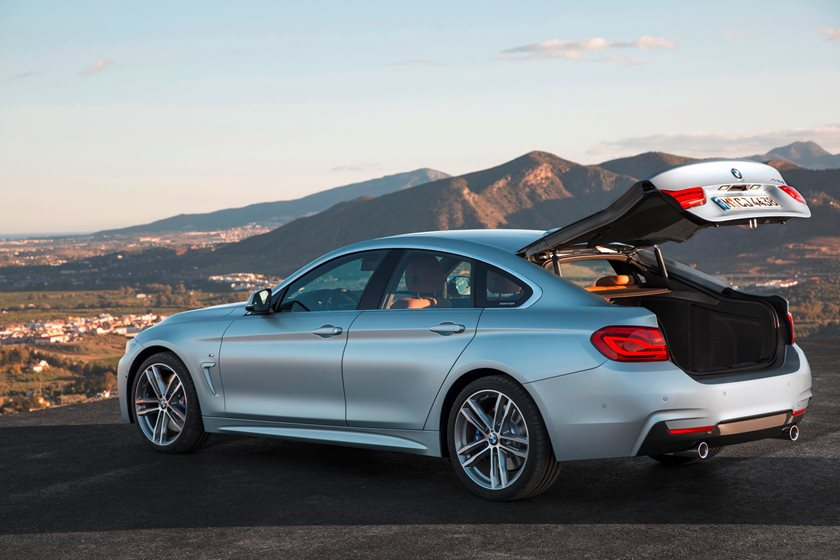 2017-2019 BMW 4 Series Gran Coupe Rear Three-Quarter Left Side View  With Open Trunk Lid