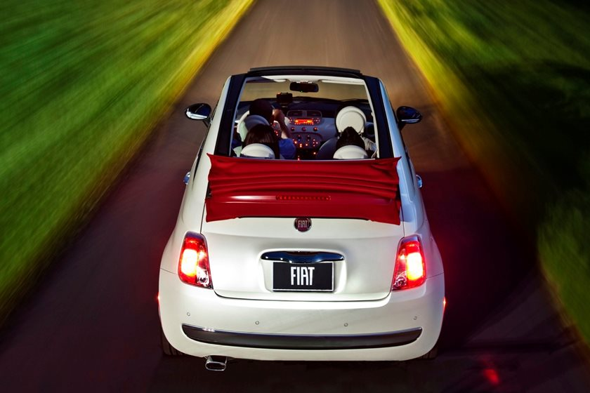 2012-2018 FIAT 500c Convertible Rear Angle in Motion
