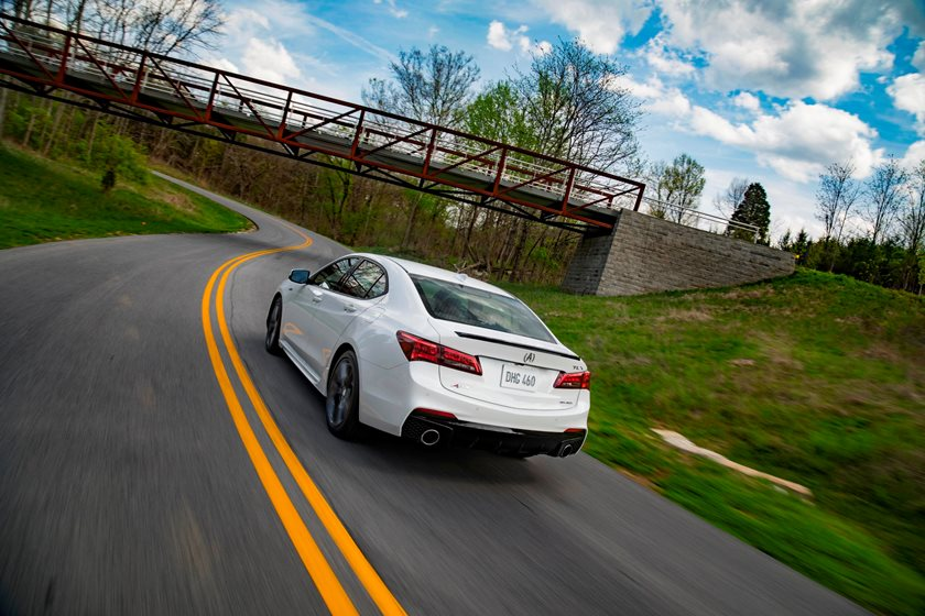 2018-2019 Acura TLX Sedan Rear Angle in Motion