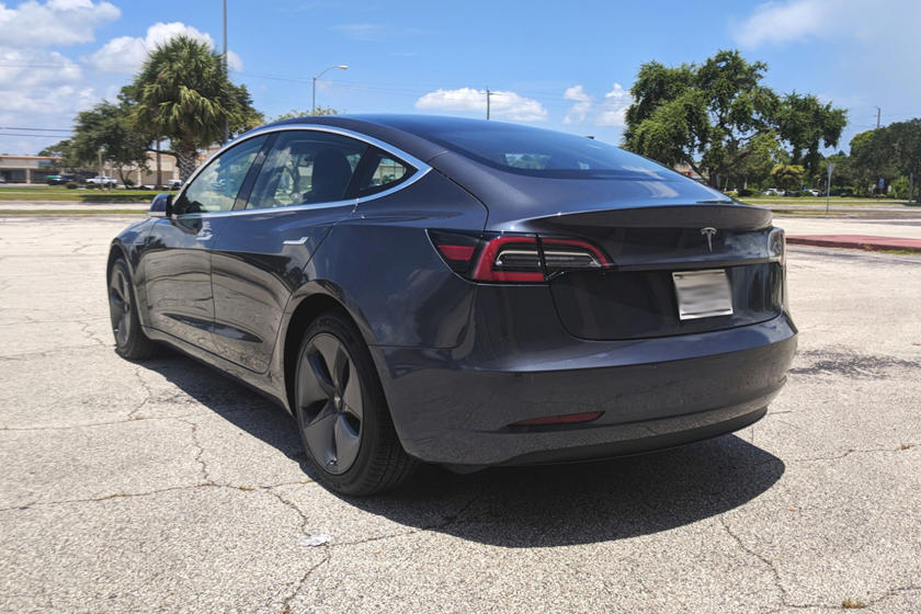 2018 Tesla Model 3 Rear Three-Quarter Left Side View
