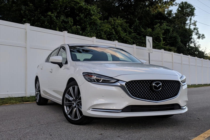 My Test Car Was A 2018 Mazda 6 Signature Finished In Snowflake White Pearl  Metallic With A Chestnut Brown Nappa Leather Interior. The Signature Trim  Acts As ...