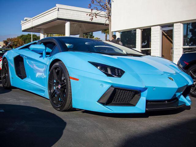 for sale baby blue lamborghini aventador roadster 50th anniversary