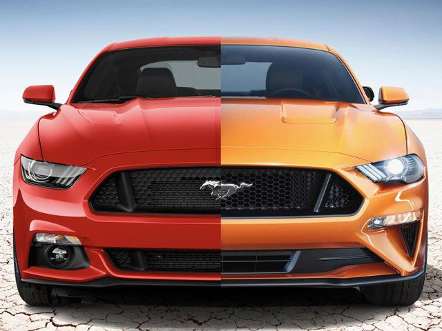 2018 ford mustang vs 2017 mustang a side by side comparison carbuzz. Black Bedroom Furniture Sets. Home Design Ideas